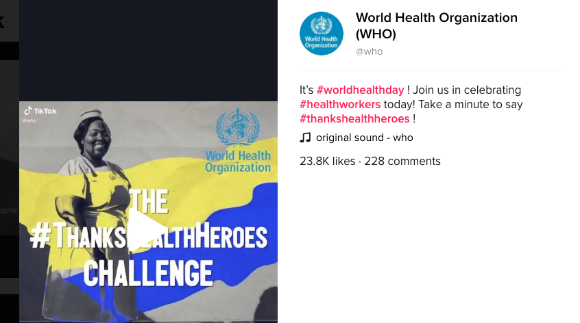 Tik Tok and World Health Organisation